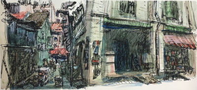Back Alley of Veerasamy Road. Little India, Singapore. 17 x 37cm, Ink and wash on paper, 2016
