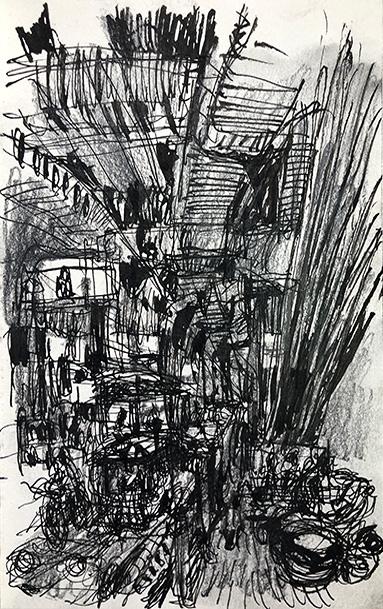 Bangkok street no.5, 21.5 X 13.5 cm, Ink and pencil on catridge paper, 2019