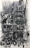 Bangkok street no.6, 21.5 X 13.5 cm, Ink and pencil on catridge paper, 2019