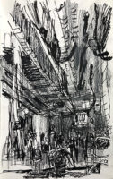 Bangkok street no.7, 21.5 X 13.5 cm, Ink and pencil on catridge paper, 2019