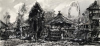 Family Temple in Ubub no.1, Bali Island , 17 x 37cm, Ink, pencil and wash on paper, 2016