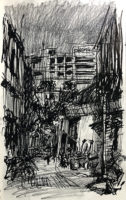 Night scene of Geyland backlane, 21.5 x 13.5 cm, Ink and pencil on catridge paper, 2019